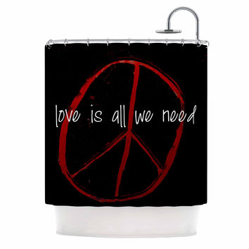 """Robin Dickinson """"Love Is All We Need"""" Red Black Shower Curtain"""