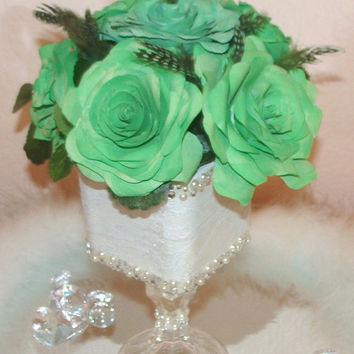 Floral Arrangement, Green and white Wedding centerpieces, Silk flowers, Fake flower decor, home decor, paper roses, coffe filter flowers