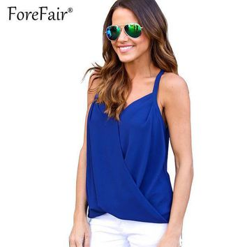 Forefair Summer Blusas Women Top Backless Stitch Chiffon Sheer T Shirt Crisss Cross V Neck Tops 2017 Sexy Halter Vest