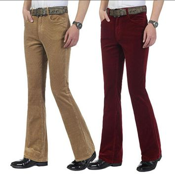 Autumn Men's commercial casual pants corduroy Flares trousers male elastic bell-bottom trousers 6 colors Size 27-36