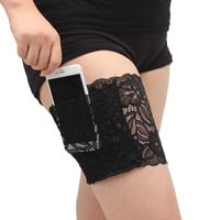 GARTER LEG PURSE: Lace Thigh Pouch Silicone Grip and 1 Secured Pocket