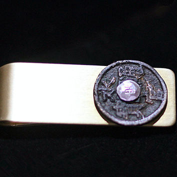 Unique Handmade Money & Card Clip with Ancient Chinese Coin, Coin Jewelry, Brass Silver Money Clip, Items for Men
