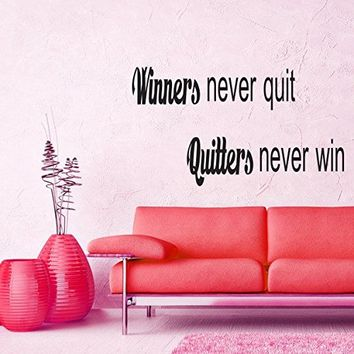 Wall Decals Quotes Vinyl Sticker Decal Quote Winners never quit, Quitters never win Phrase Home Decor Bedroom Art Design Interior NS68