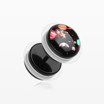 A Pair of Galaxy Universe Acrylic Faux Gauge Plug Earring