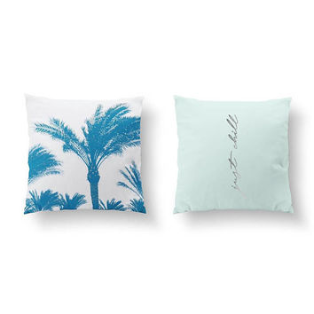 SET of 2 Pillows, Just Chill Pillow, Boho Pillow, Throw Pillow, Cushion Cover, Bed Pillow, Palm Trees Pillow, Chillout Quote, Gold Pillow