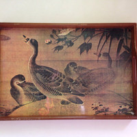 Vintage Serving Tray, Geese, Wood Handles, Formica Like Material, Home Decor, Water Fowl, Woodland,