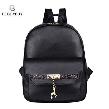 Girls bookbag Glitter PU Leather BACKPACK FOR Women School Bags Shoulder Bag Deer Pendant Backpacks Girls Zipper Travel Bookbag fashion AT_52_3
