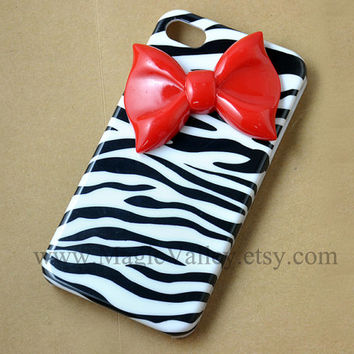 Zebra Iphone 4 case with Red Bow, Bow Iphone 4 case, Iphone 4S case, Hard Plastic Iphone Case, Zebra iphone 4s case