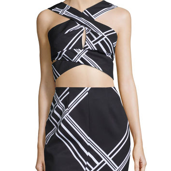 Tainted Romance Wrap-Front Crop Top, Black Check Print, Size: