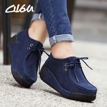 O16U Women platform Casual shoes Suede leather wedges Lace up flats rubber Ladies Creepers Snow Fur Shoes Female Winter Spring