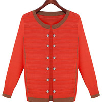 Orange Long Sleeve Buttoned Cardigan