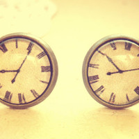 Retro Vintage Old Clock Stud Earrings - Free Shipping - Made to order :)