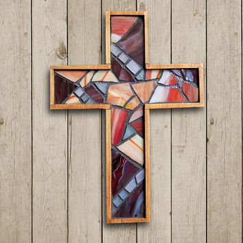Handmade Rustic Wooden Wall Cross, Red Stained Glass Mosaic Wall Cross, Small Hanging Baptism Cross