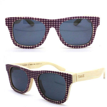 TAKEMOTO new works LOVE-COLOR    grid polarization  handmade bamboo bigger sunglasses