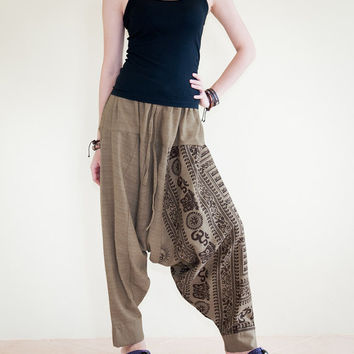 Om Ancient Hindu Script Pattern Harem Aladdin Unisex Textured Cotton Pants (HOH Light Brown with Brown Script)