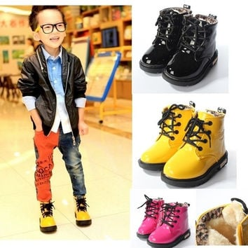 Baby Martin Boots Fur Lined Warm Winter Children Kids Boy Girl Waterproof Shoes = 1931600452