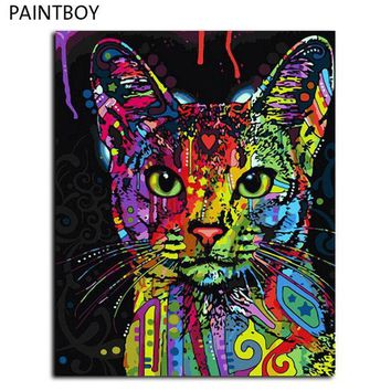 CREYYN6 Frameless Picture Painting By Numbers Abstract Animal Cat DIY Oil Painting On Canvas Home Decoration For Living Room 40*50cm
