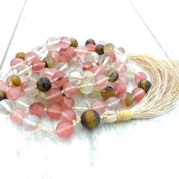 Cherry Quartz Mala Beads, Tiger Eye Mala, Tassel Knotted Mala Beads, Long Tassel Necklace, Meditation Beads, Gemstone Mala, Gypsy Jewelry