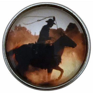 Roping Cowboy Snap Charm 20mm for Snap Jewelry