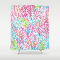 Lets Cha-Cha (Lilly Pulitzer style) Shower Curtain by uramarinka