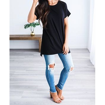 Let's Be Friends Rolled Sleeve Tunic Top - Black