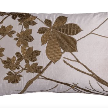 Leaf Blush Velvet with Gold Lumbar Pillow by Lili Alessandra