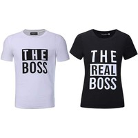 The Boss The Real Boss Funny Couple Matching T-shirts Husband and Wife Tees Love Couple Top Tee Funny Print women's tee shirts