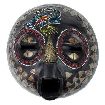 Weighty Wooden Ashanti Beaded Mask