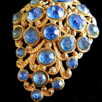 Blue Rhinestone Dress Fur Sweater Clip, Art Deco, Antique Gold Tone, Vintage