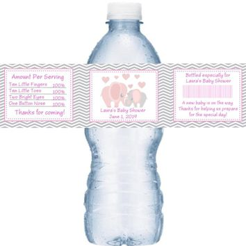 21 Pink Elephant Baby Shower Water Bottle Labels