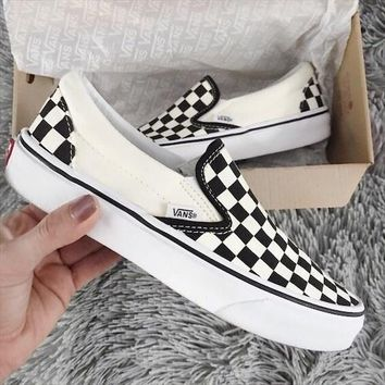 VANS Classic Slip On Checker Black/White Sneaker Black White Plaid