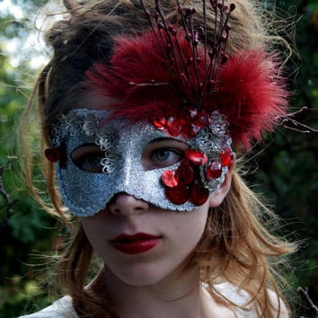 Silver Masquerade Ball Masks Masquerade mask red silver Metal flower mask Halloween mask red feathers mardi gras mask prom mask ROGUE