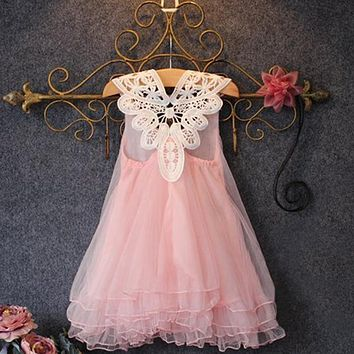 Princess Summer Flower Girl Dress Kid Baby Lace Party Wedding Tulle Tutu Dresses