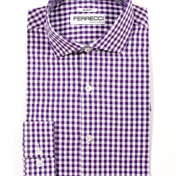Purple Gingham Check Dress Shirt - Slim Fit