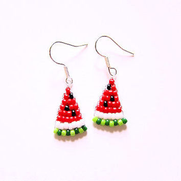 Beaded Watermelon Slice Earrings Seed Bead Jewelry Food Earrings Fruit Jewelry