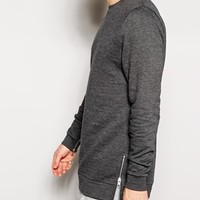ASOS Longline Sweatshirt With Sleeve And Side Zips