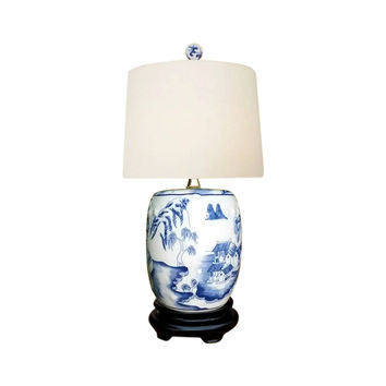 Chinese Blue and White Porcelain Mini Garden Stool Blue Willow Table Lamp 17.5""