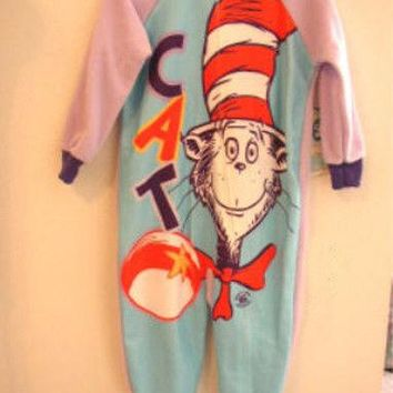 Licensed cool Dr Seuss Cat in the Hat Long Sleeve Soft Zip Up PURPLE 1PC Pajamas girls 3T NWT