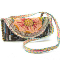 Artsy Painted Boho Bag Clutch or Cross the Body, One of a Kind, Earthy Colors, Upcycled