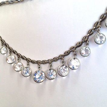 Vintage Art Deco, Machine Age, Crystal Necklace. Open back. Wedding Bridal