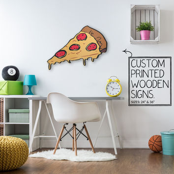 Pepperoni Pizza Cartoon Slice Custom Printed Wood Sign Unique Trendy Game Room