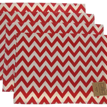 Red Green White Chevron Placemats Apron & Carry Bag Tote Set Home Concepts Casa