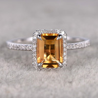 6x8mm Emerald Cut Citrine Engagement Ring Diamond Wedding Ring 14K White Gold Halo Stacking Ring