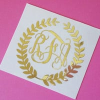 Wreath Monogram Decal - Gold Monogram | Gold Decal | Laurel Wreath Decal | Planner Decal | Window Decal | Laurel Wreath Decal | Car Monogram