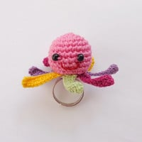 Squidgy Ring Octopus with colorful tentacles Of Mice & Men - Crocheted Soft Ring 1pcs