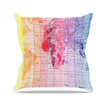 "Catherine Holcombe ""Rainbow World Map"" Multicolor Travel Outdoor Throw Pillow"