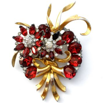 Red Rhinestone Pin Brooch Vintage 1940's