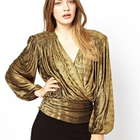 Traffic People Metallic Wrap Detail Top With Open Back