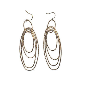 Gold Titanium Earrings Dangle Large Textured Hoop Earrings Hypoallergenic Lightweight Earrings For Sensitive Ears Nickel Free Earrings