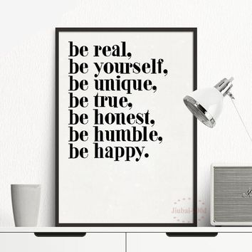 Be Yourself Motivational Inspirational Canvas - Print Wall Art Decor Quote
